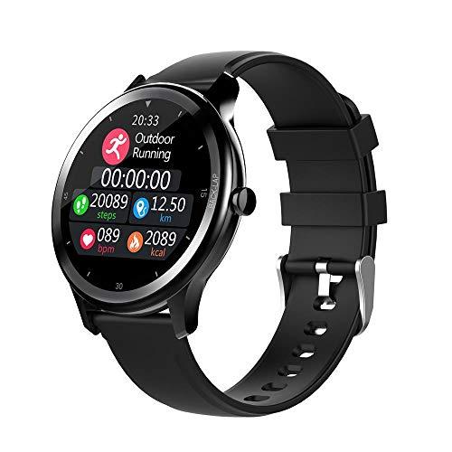 Reloj inteligente para hombre IP68 impermeable con pantalla táctil para hombre y mujer, rastreador de actividad de ritmo cardíaco, podómetro, notificación de mensajes, color negro
