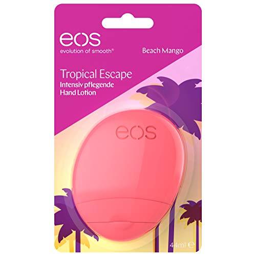 eos Tropical Escape Beach Mango Hand Lotion, feuchtigkeitsspendende Handcreme, mit Mango- & Kokosnuss-Aroma, für zarte Hände, mit Kakao- & Sheabutter, 44 ml