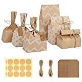 Becargo 24 Pcs Paper Treat Bags for Cookies, Party Favor Bags, Paper Goodie Bags for Bakery, Candies, Cookies etc.[8 Each of Chevron, Dots, Solid]