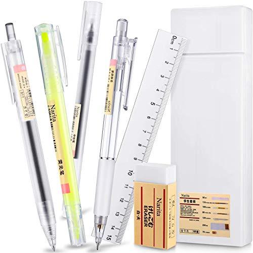 7-teiliges Schreibwarenset, Schreibset im japanischen Stil, Kugelschreiber mit Gel-Tinte, Druckbleistift mit feiner Spitze, Plastiketui mit Radiergummi, Lineal, Für das Schülerbüro Schreibwarenbedarf