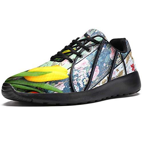 Zapatillas deportivas para correr para mujer, diseño retro de tulipán y flores, de malla, transpirables, para caminar, senderismo, tenis, color, talla 41 EU