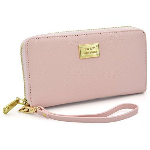 Portafogli Donna, Kfnire borsa lunga con cerniera a frizione femminile con cinghia da polso removibile (rosa)