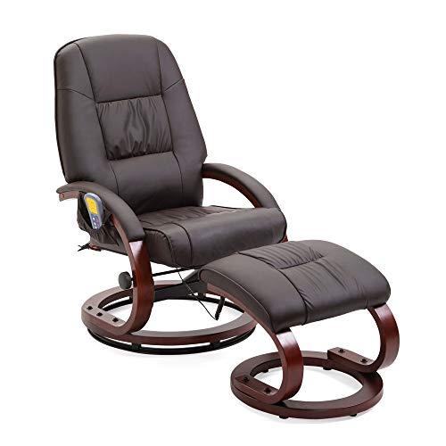 Mingone Massagesessel 8 Schwingmassagepunkte Relaxsessel Fernsehsessel mit Heizfunktion(Braun)