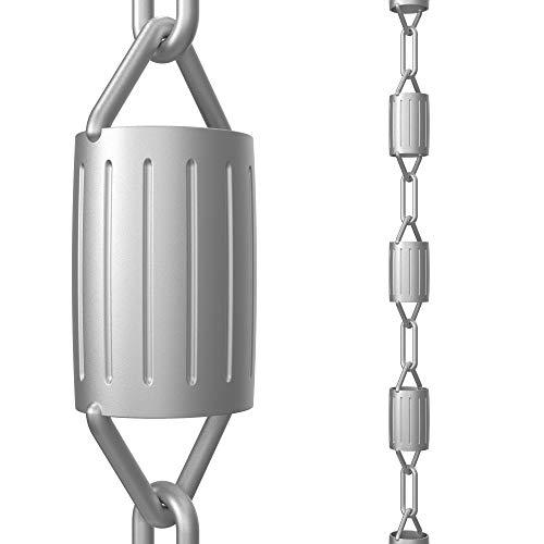 Cadenas de lluvia directa festoneadas, 8.5 pies de longitud, aluminio, gris, funcional y decorativo reemplazo para canalones bajantes