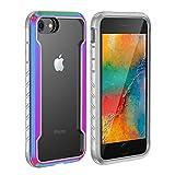 KumWum Antigolpes Case para iPhone SE 2020 Grado Militar Protectora Trasera Carcasa Parachoques Híbrido Aluminio y Silicona Funda iPhone 7/8, Iridiscente