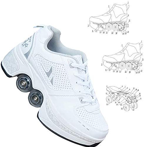 Los Patines Quad Rodillos, Zapatos Unisex con Ruedas, Rodillos Saque Zapatos Adultos, Deportes Al Aire Libre En Monopatín Técnica Niños del Zapato, Las Niñas, Adultos,EU40(US8.5)