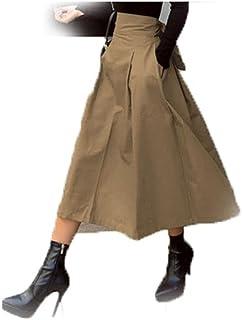 Wusssonggacq تنانير ماكسي للنساء، التنانير النسائية أزياء موحدة اللون الكبيرة المتأرجحة للسيدات تنورة طويلة الخريف البرية ...
