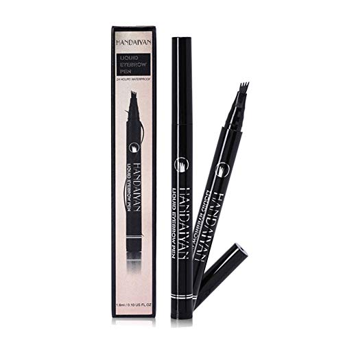 Four Fork Tips Microblading Eyebrow Tattoo Pen Fine Liquid Ink Eyebrow Pencil Long Lasting Not Blooming Smudgeproof Waterproof Sweat-proof Brows Dye Makeup
