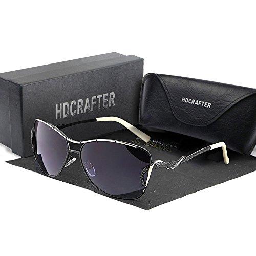 Art- und WeiseSonnenbrille für Frauen u. Männer, HDCRAFTER polarisierte Katzenaugen-Sonnenbrille, stilvolles UV400 Schutz-Metallrahmen