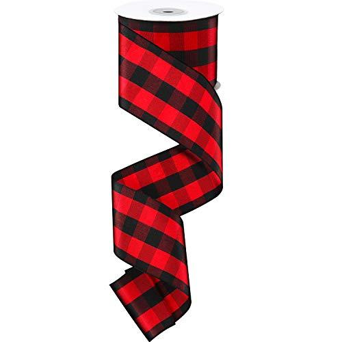 25 yardas 2.5 pulgadas de ancho rojo y negro cinta de Navidad cinta de regalo para Navidad, manualidades, boda, fiesta de cumpleaños decoración