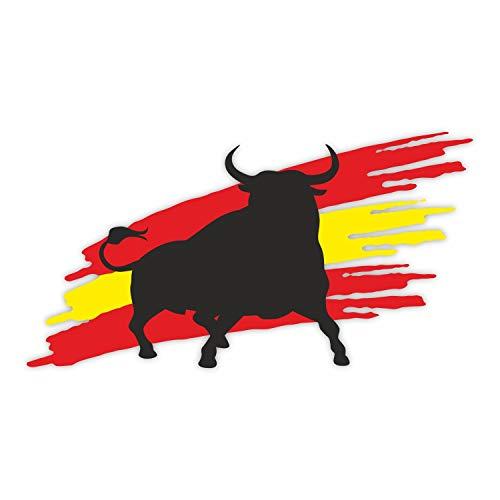 1 naklejka Byk z flagą I kfz_263 I 20 x 10,5 cm I naklejka na samochód kempingowy notebook laptop I Hiszpania Espana Bulle I odporna na warunki atmosferyczne