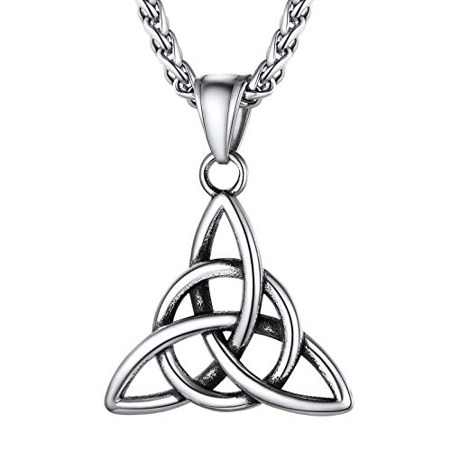 PROSTEEL Trinity Celtic Knot Necklace Irish Jewelry Women Good Luck Stainless Steel Viking Scottish Triquetra Necklace Men