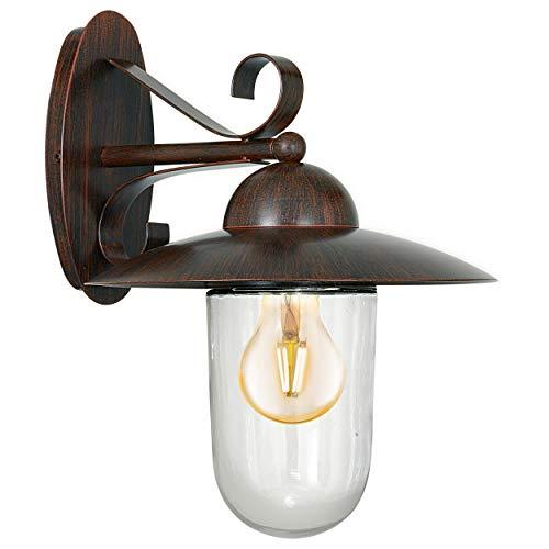 EGLO Außen-Wandlampe Milton, 1 flammige Außenleuchte, Wandleuchte aus verzinktem Stahl und Glas, Farbe: Antik-Braun, Fassung: E27, IP44
