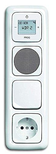 Busch Jäger Unterputz UP Digitalradio 8215 U (8215U) alpinweiß KomplettSet Reflex SI Lautsprecher + 20 EUCKS-214 Steckdose mit Kinderschutz Lichtschalter Wippschalter + Radioeinheit in 4 fach Rahmen