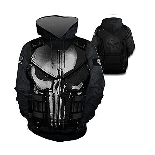 ZFF-BT Hombre y mujer Punisador Unisex Punise Punisher 3D Impresión con capucha Sudadera Sudadera Sudadera Chaqueta (Color : ZipperPunisher, Size : XXL)