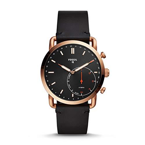 Fossil Hybrid Men's Smartwatch - Commuter in pelle nera e quadrante tono...