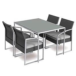 Gruppo Maruccia Ensemble salle à manger de jardin avec table et quatre fauteuils en acier et rotin synthétique, blanc