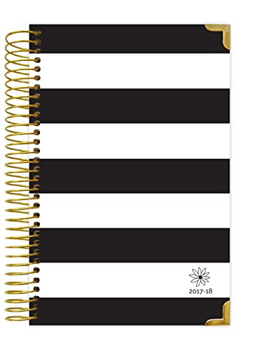 "bloom daily planners 2017-18 Academic Year Hard Cover Daily Planner - Passion/Goal Organizer - Monthly and Weekly Datebook and Calendar - August 2017 - July 2018-6"" x 8.25"" - Black & White Stripes"