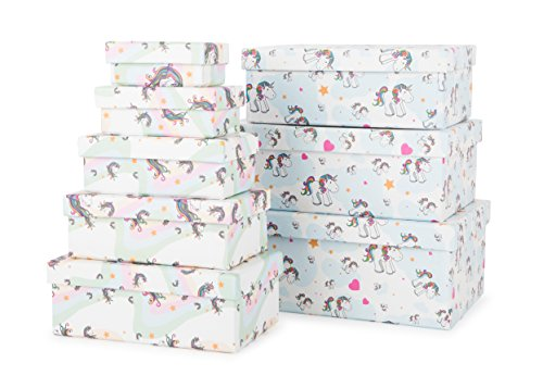 Michel-Toys 10756 Set de boîte-Cadeaux Licorne, Carton, Multicolore, 9 x 5,5 x 3,5 cm