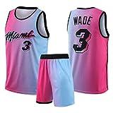 CNMDG Miami Heat 3# Dwyane Wade Jersey Set para Hombres y Mujeres, 2021 Nueva edición Baloncesto Bordado Jersey y Pantalones Cortos Camiseta Camiseta Tank v M