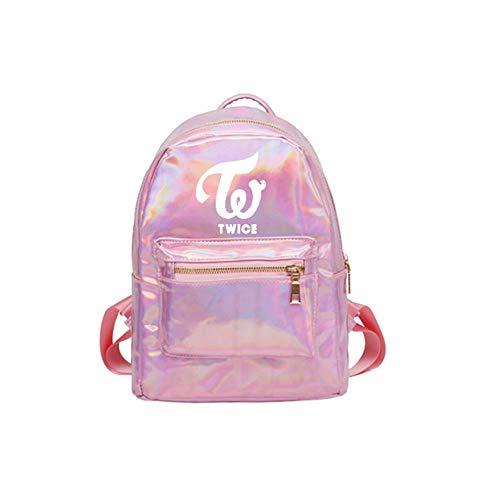 kpop Twice school backpack Twice laser Pu backpack Harajuku School Bag,Unisex (Twice pink)