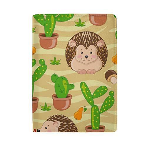 Funda de piel para pasaporte portátil, diseño de erizo, color verde, con un bolsillo