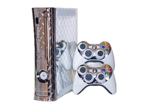 Silver Diamond Plate Mirror Vinyl Decal Faceplate Mod Skin Kit for Microsoft Xbox 360 Console by System Skins