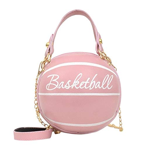 Mdsfe Personality female leather pink basketball bag 2020 new ball purses for teenagers women shoulder bags crossbody chain hand bags - Basketball pink,a4