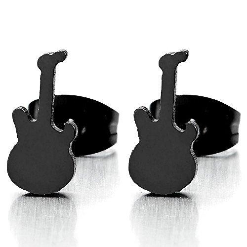 Negro Guitarra Pendientes de Mujer Hombre, Acero Inoxidable, 2 Piezas