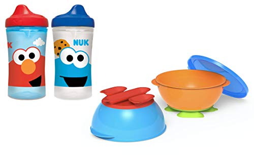 NUK Tri-Suction Bowls 2-Pack and Two Sesame Street Elmo Hard Spout Sippy Cups in Red and Blue 10oz Each (Set of 4 Items)