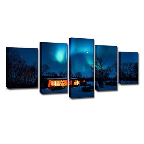 Gdlkss Cuadros Modernos Impresión de - Cabaña bajo la Aurora - Abstracto Impresión de 5 Piezas Material Tejido no Tejido Impresión Artística Imagen Gráfica Decoracion de Pared - 200x100cm
