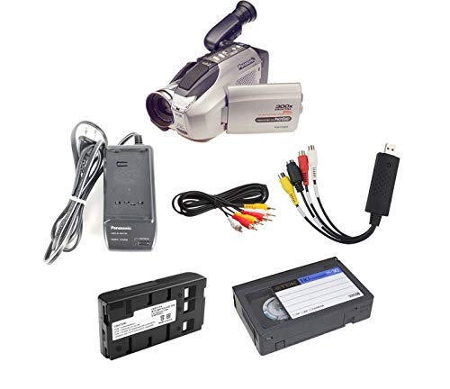 Panasonic VHS-C Camcorder w/USB Adapter for Tape Transfer to Digital & Blank VHSC Tape