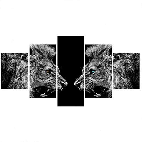 FCFLXJ Bild Auf Leinwand 5 Teilig Leinwand Modular Schwarzer und weißer Hintergrund des brüllenden Löwen 59 *31.5 Zoll Leinwanddrucke 5 Stück Wandkunst Leinwandmalerei Drucken Modern Poster Rahmenlos