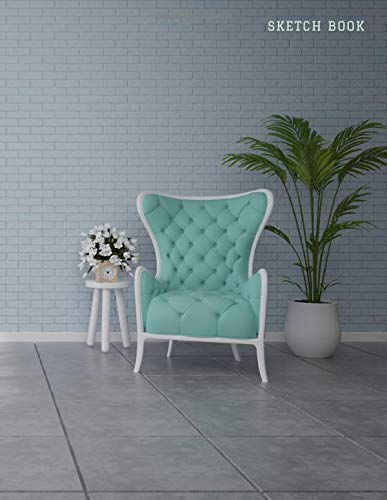 Sketch Book: Cute Light Teal Wingback Chair on Gray Background Cover Design, 8.5x11 Artist Notebook for Kids, Teens and Adults with Blank Paper for Drawing, Writing, Doodling, and Coloring, 108 Pages