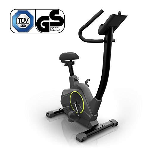 Klarfit Epsylon Cycle Bicicleta - Bicicleta estática , Pulsómetro , Inercia de 12 kg , Tracción por correa , Altura regulable , Entrenamiento de resistencia , Soporte de tablet , Hasta 120 kg , Negro