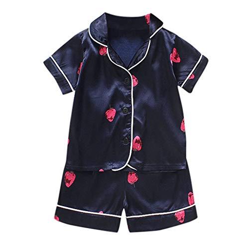 ZODOF Ropa de bebé Verano Mezcla De Algodon Estampado Niños Bebé Muchachos Niña Dibujos Animados Pijama Ropa de Dormir Camiseta Pantalones Cortos Conjunto de Ropa