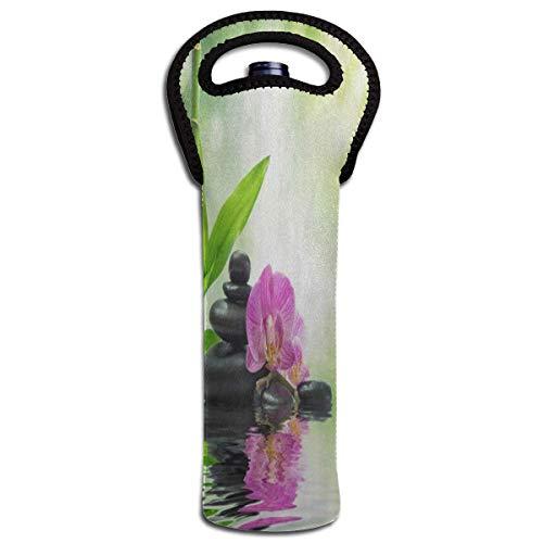 Rode wijn Sets Zen Stone Roze Bloemen Water Lake Bamboe Beschermende Champagne Tote Bag Fles Houder Tas Geïsoleerde Gecapitonneerde