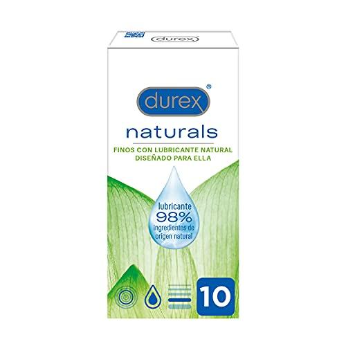 Durex Naturals Preservativos con Lubricante Natural de Base Agua, Diseñado para Ella - 10 condones