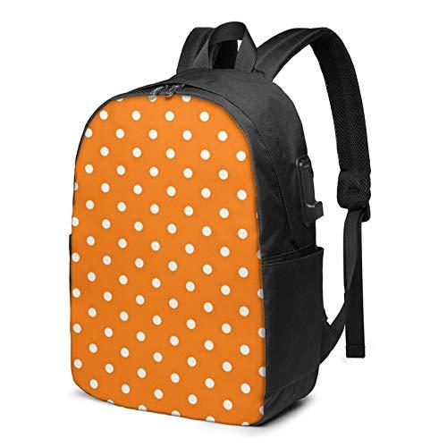 WEQDUJG Mochila Portatil 17 Pulgadas Mochila Hombre Mujer con Puerto USB, Círculo Verde Naranja Diminuto Mochila para El Laptop para Ordenador del Trabajo Viaje