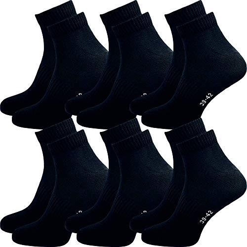 GAWILO 6 Paar kurze Socken Kurzsocken Sport Quarter Socken für Damen und Herren | ohne drückende Naht | ohne Gummibund (39-42, schwarz)