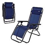 Aktive 62190 - Tumbona Gravedad Cero azul, reclinable y plegable Beach 65 x 178 x 110 cm