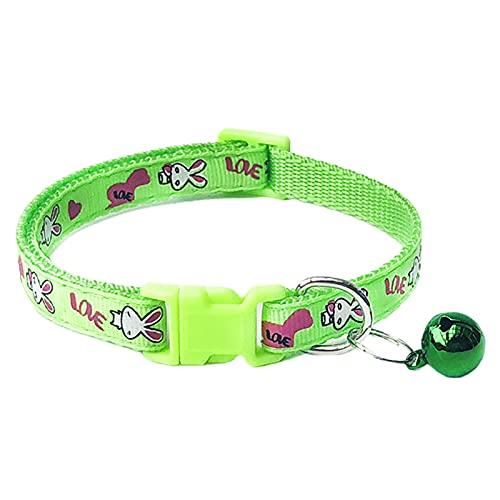 Collar de mascota, collar de mascota cómodo ajustable conejo de poliéster impreso ajustable cadena de cuello de mascota - verde fluorescente