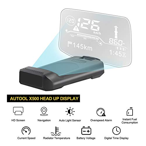 AUTOOL X500 Auto-Overhead-Videoanzeige, HUD OBD2-Diagnosetools für angehaltene virtuelle Anzeigen, Kilometerstand des OBD GPS-Dual-System-Tachometers für 12-V-OBDII-Fahrzeuge