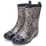 AELEGASN Botas De Agua para Mujer PVC Zapatos De Lluvia Impermeable Chelsea Botas Otoño Invierno Goma Wellington Botas Antideslizante Corto Botas 36-41,Gris,38