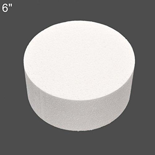 kangql, Torten-Dummy, rund, Styropor / Schaumstoff, Übungsmodell für Zuckerguss- und Blumendekorationen, 10 / 15 / 20 cm, weiß, 15,2 cm