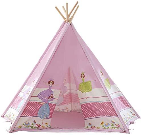 SHUNFENG-EU 5 Lado de Dibujos Animados pequeño Pink Pink Princess Castle Tent Portable Children Girl Boy Toy Toy Cotton Canvas Tent House Sala de Juegos, un Gran Teatro para niños con Pole Pole