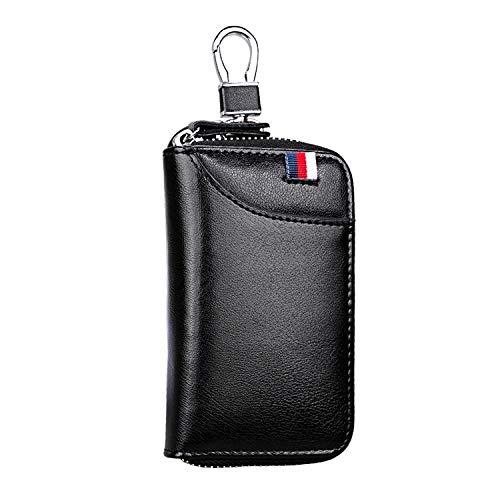Bolsa MMGZ 9102 multifunción Colgante de la Cintura de Cuero con Cremallera Monedero Claves sostenedor del Bolso (Negro) (Color : Black)
