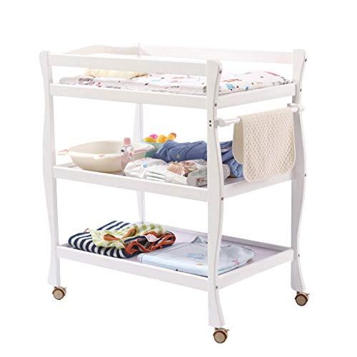 Wickeltisch, Wickeltisch für Säuglinge, Wickeltisch für Neugeborene, Wickeltisch für Kinderzimmer mit Korb / 2 festen Regalen (Kirschholz)