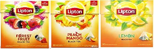 Lipton Aromatisierter Schwarztee Pack 3 x 20 Pyramiden Teebeutel (Lemon ,Forest Fruit, Peach Mango)