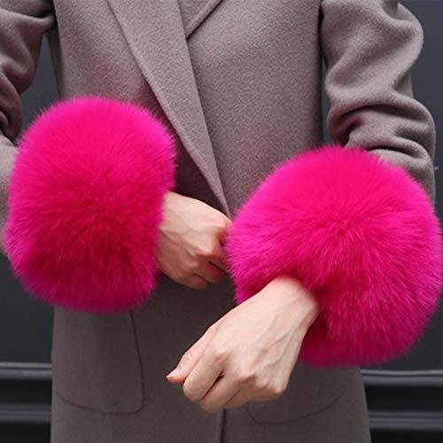 Dhukien Abnehmbare Pelzmanschetten, Kunstfell-Handgelenksmanschetten für Frauen, weiche und Flauschige Kunstpelz-Handgelenkband-Ringmanschetten Wärmerer Plüsch Rose Red